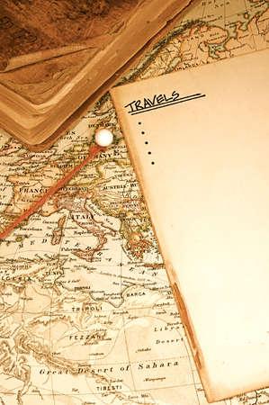 Vintage (1907 copyright vers treken) kaart van een wereld reiziger  Stockfoto