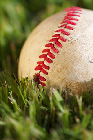 Close up macro view of the seams on a used baseball Stock Photo - 9251863