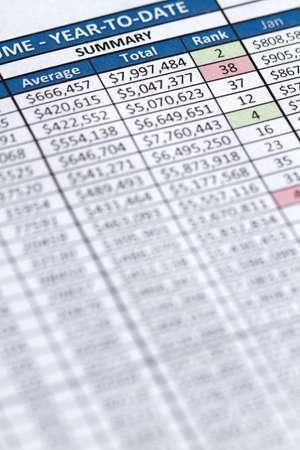 hoja de calculo: Hoja de c�lculo y la columna de n�meros de una regi�n de ventas de negocio Foto de archivo