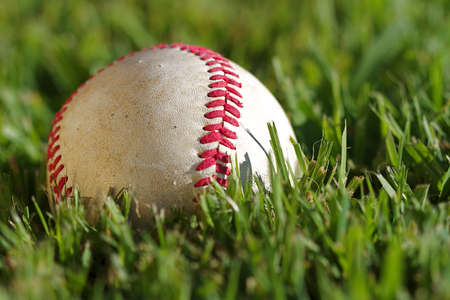 Close up macro view of the seams on a used baseball Stock Photo - 10960731
