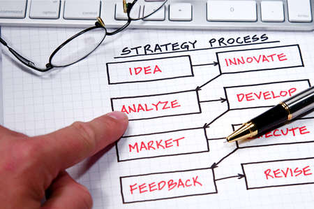 Business strategy organizational charts and graphs Stock Photo