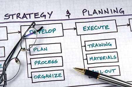 planning process: Business strategy organizational charts and graphs Stock Photo
