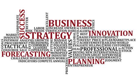 planeaci�n estrategica: Palabras de negocio en un collage revuelto para un fondo