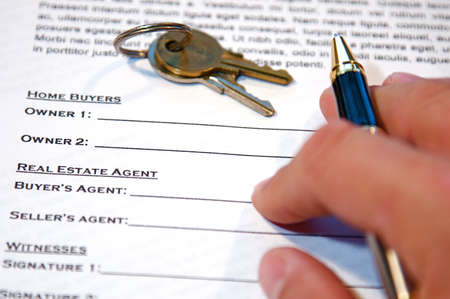 title hands: Contract for the sale of a New Home (lorem ipsum - fake text)