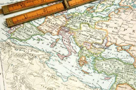 Vintage (1907 copyrighted verlopen) kaart van Europa en Azië Stockfoto