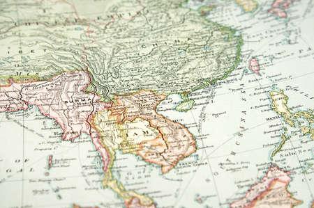 birma: Vintage (1907 copyrighted verlopen) kaart van Europa en Azië