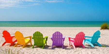 adirondack chair: Adirondack Beach Chairs for a Summer Vacation in the Shell Sand on Captiva Sanibel Island Florida