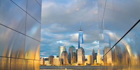 freedom tower: World Trade Center Freedom Tower in Lower Manhattan New York City skyline with American Flag Stock Photo