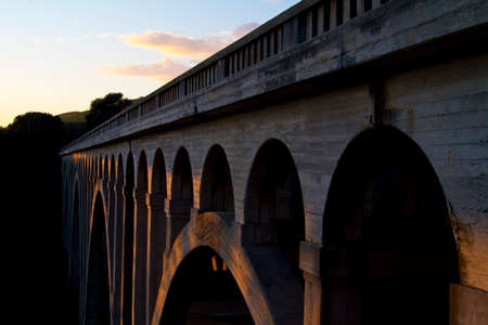 arroyo: Arroyo Hondo Trestle Train Bridge near Gaviota and Santa Barbara California at Sunset Stock Photo
