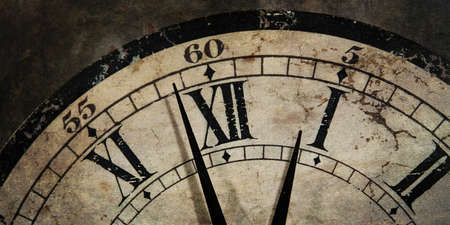 Grunge old Clock showing the Time is After Midnight