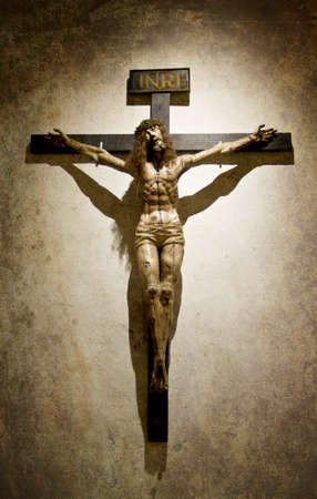 crucified: Crucified Jesus Christ with a Crown of Thrones on a Gothic Cross