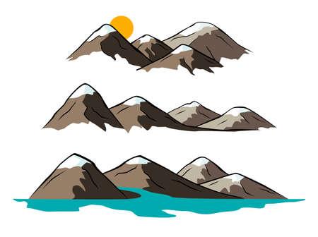 river rock: Mountain illustrations