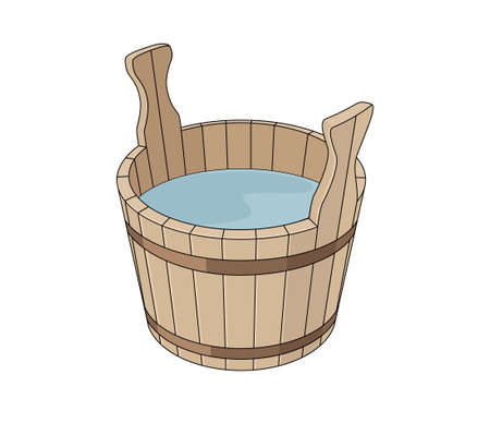 basin: Wooden basin with water Illustration