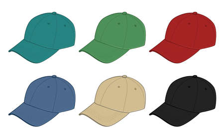 clothe: Baseball caps of various colors