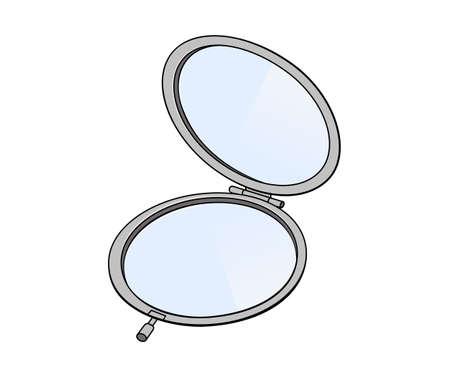 look in mirror: Round pocket mirror Illustration