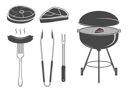 grill tongs sausage: Barbecue icons set Illustration