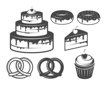 bagels: bakery icons Illustration