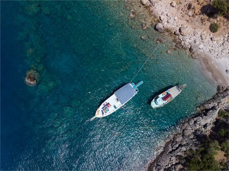 aerial shot of sailing yacht drone