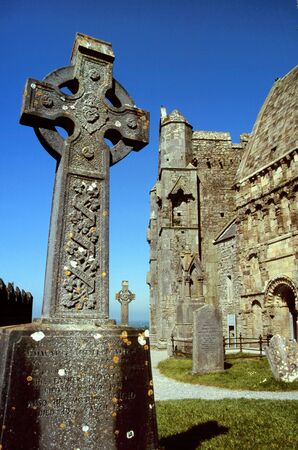 celts: Irish celtic cross at the Cormac`s Chapel at Rock of Cashel, Ireland