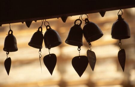 doi: Heart bells at Buddhist temple, Doi Suthep, Chiang Mai, Thailand Stock Photo