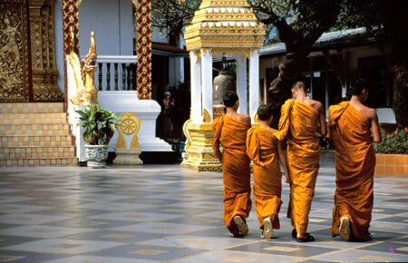 chiang mai: Buddhist Monks at temple Doi Suthep, Chiang Mai, Thailand Stock Photo
