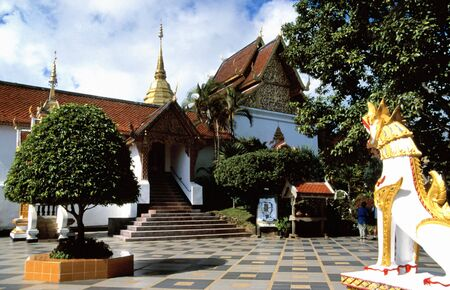 Buddhist temple in the Doi Suthep monastery near Chiang Mai, Thailand photo