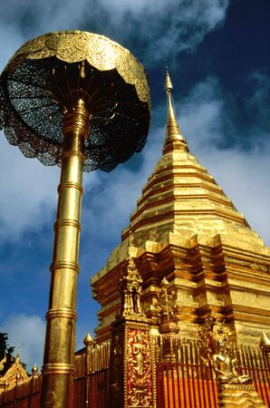 doi: Golden temple in the  Doi Suthep monastery near Chiang Mai, Thailand