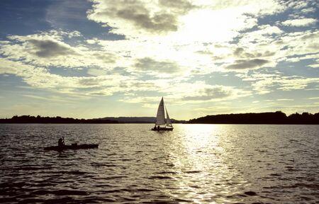 v lake: Sailboats on the lake Chiemsee in summer
