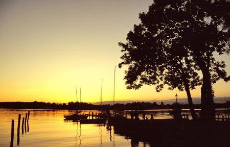 Night mood at the lake Chiemsee, Bavaria, Germany photo