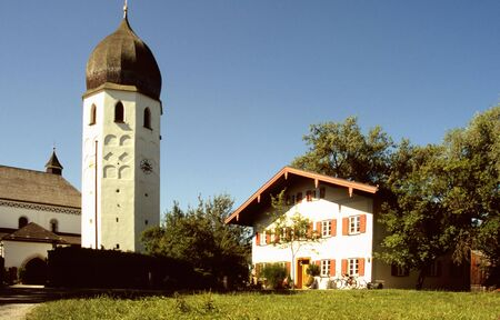 Tower of the monastery on an island in the lake Chiemsee, Bavaria photo