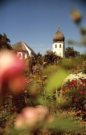 Monastery garden at the monastery on an island in the lake Chiemsee, Bavaria  photo