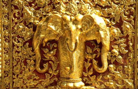 Golden Elephants in the Doi Suthep monastery near Chiang Mai, Thailand photo