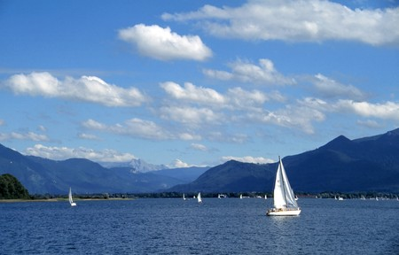Sailboats on the lake Chiemsee in summer photo