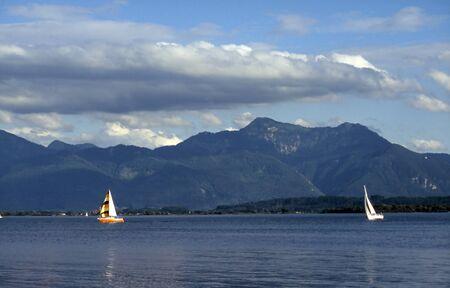 Sailboats on the lake Chiemsee photo