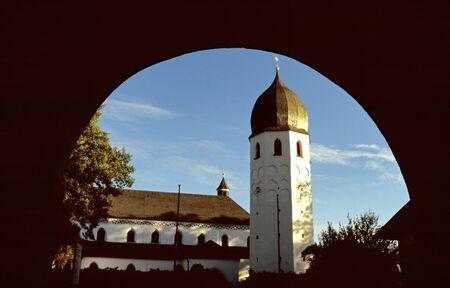 cloudless: Tower of the monastery on an island in the Chiemsee, Bavaria