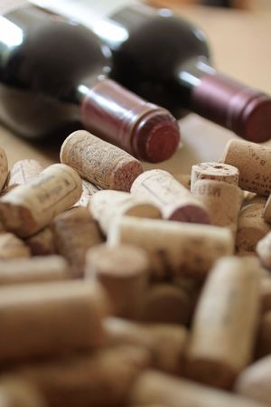 Close-up with many corks on a heap
