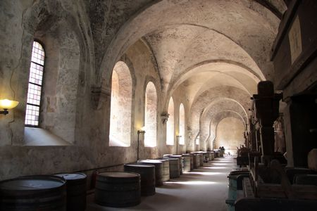 winepress: Old arches on vineyard in the Rheingau, Germany