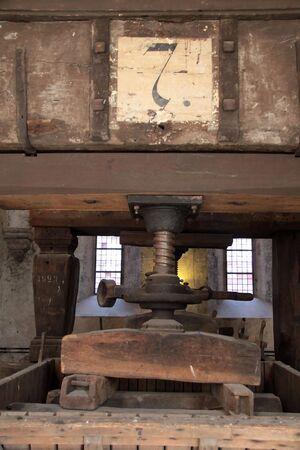 Old wine presses on vineyard in the Rheingau, Germany photo