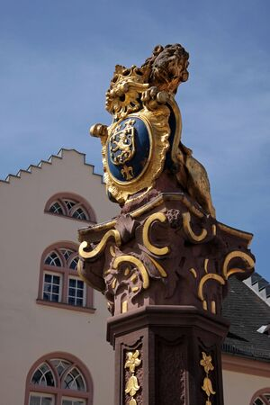 provincial: Fountain with lion in Wiesbaden, Hesse, Germany