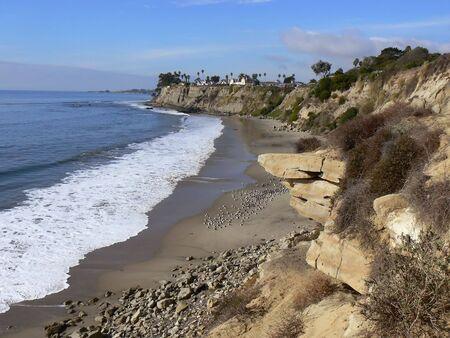 Beach with California coast line near Santa Barbara