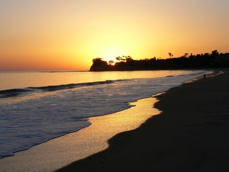 Beach in golden light near Santa Barbara, California, USA photo