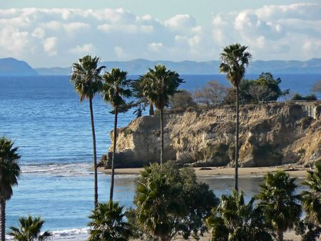 santa barbara: Beach with California coast line near Santa Barbara