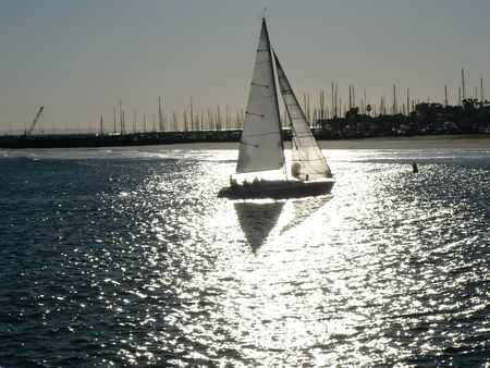 Sailboat in silver light near Santa Barbara, California, USA photo