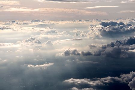 aerial of clouds in the evening Stock Photo