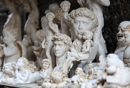 busts: Small marble busts as souvenirs at a gift shop in San Gimignano in Tuscany