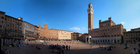 Panoramic view of the Piazza del Campo in Siena, Tuscany Stock Photo