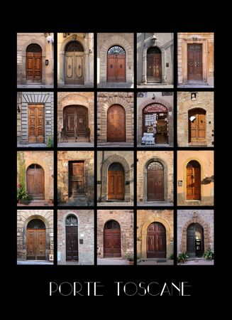Variaty of old Tuscan Doors in Italy with black background photo