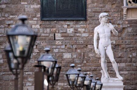 David statue in Piazza della Signora, Florence Stock Photo
