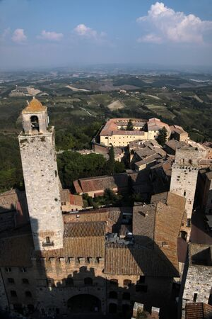 Panoramic view of San Gimignano in Tuscany, Italy photo