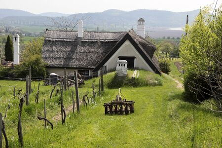 farmhouses: Old farmhouse in Aszofoe at Lake Balaton, Hungary Stock Photo
